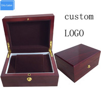 Luxury professional custom new design high grade outter wooden inner brown velvet watch box for watch seller wholesale price