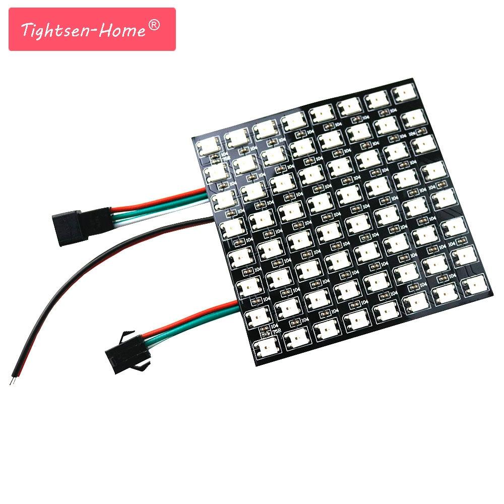 цена на Matrix 8*8 Pixel 64 Pixels WS2812B WS2812 Digital Flexible LED Panel Individually Addressable 5050 RGB Full Dream Color DC5V