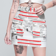 Newspaper Pattern Sexy Mini Skirt Women High Waist A-line Short Summer Fashion Letter Print Pocket Skirts Harajuku Mujer
