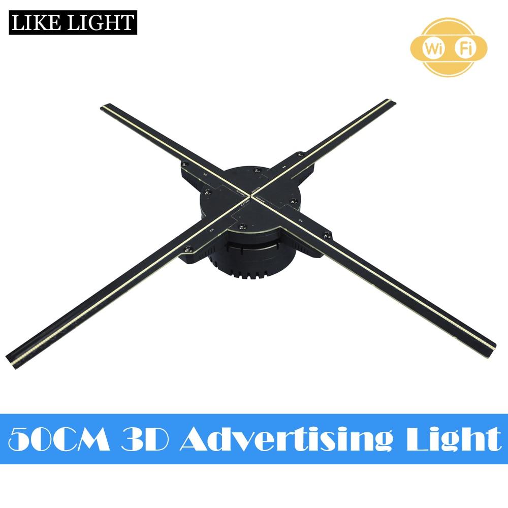 50CM 4 ventilateur hologramme ventilateur lumière avec wifi contrôle 3D hologramme publicité affichage ventilateur LED holographique imagerie yeux nus dispositif