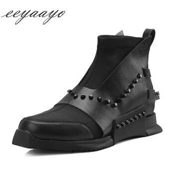 2018 новые весенне-осенние женские ботильоны из натуральной кожи на низком каблуке с квадратным носком, модная женская обувь в стиле панк с за...