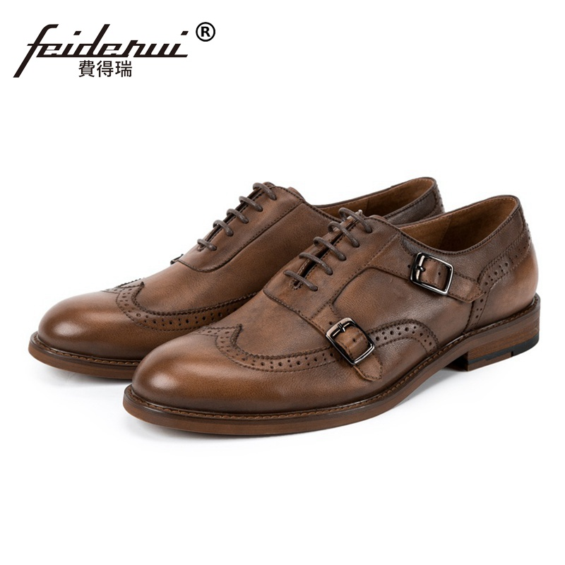 New Arrival Round Toe Man Formal Dress Shoes Genuine Leather Wingtip Brogue Footwear Monk Straps Mens Handmade Oxfords SS125New Arrival Round Toe Man Formal Dress Shoes Genuine Leather Wingtip Brogue Footwear Monk Straps Mens Handmade Oxfords SS125