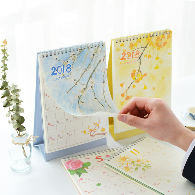 2018 mini table calendars desk planner girl calendar paper stationery office school supplies january 2017 to