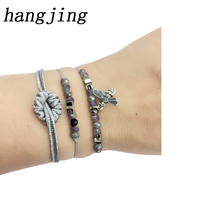 HanJing Style Boho Bangle  tassel bead bow Crystal Bead Bracelet Women Charm Party Wedding Jewelry Seed Beads Bracelets