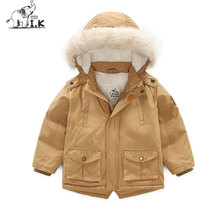 I.K Baby Boy Down Coat With Fur Parkas Thick Warm 2017 Fashion Long Sleeves Children Outwearcoats Baby Kid Winter Jackets DP3010