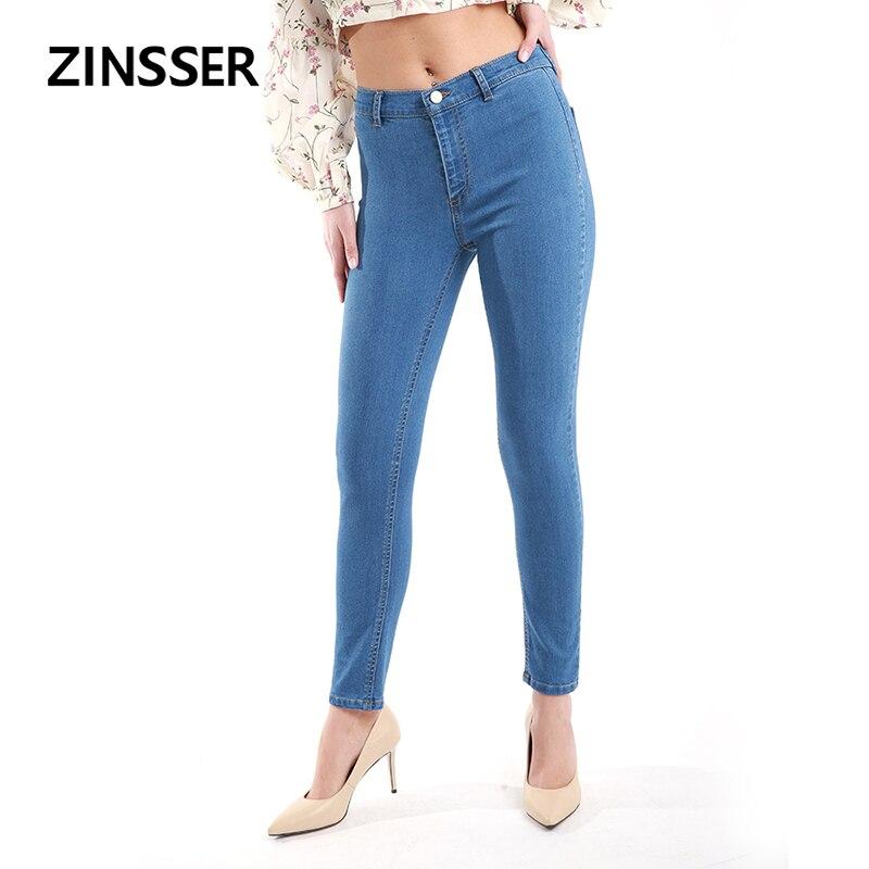 Autumn Winter Women Denim Skinny Pants Stretch High Waist Washed Blue Slim Elastic Lady Jeans