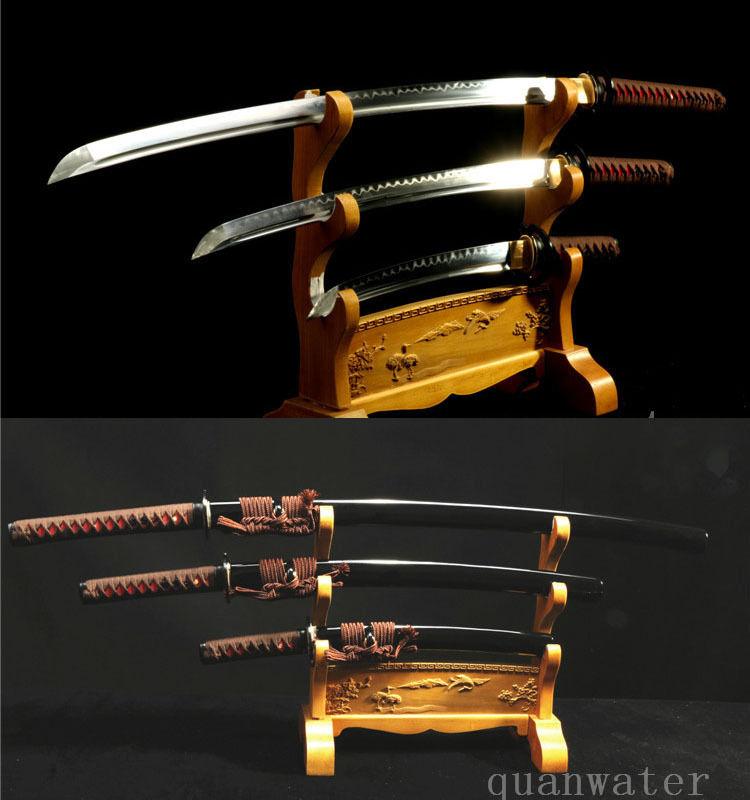 1095 HIGH CARBON STEEL CLAY TEMPERED JAPANESE SWORDS SET KATANA WALIZASHI TANTO