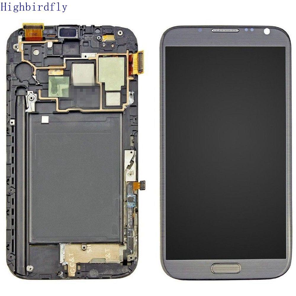 Amoled pour Samsung Galaxy Note 2 N7100 N7105 écran Lcd + numériseur en verre tactile avec cadre