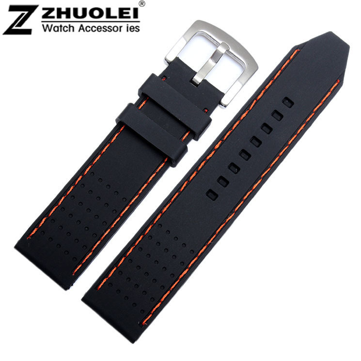 Replacement Watch band 22mm Black Rubber Orange Stitching Silicone Soft Rubber Watch Band Strap Bracelets jansin 22mm watchband for garmin fenix 5 easy fit silicone replacement band sports silicone wristband for forerunner 935 gps