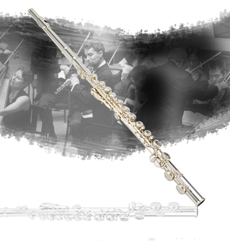 Silver plated flute Top High-quality flute FL-211SL silver flute C tune musical instruments E key flute music free shipping new flute 17 hole open silver plated key e key high quality ebony wood 5