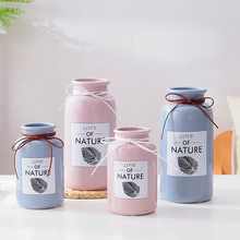 1pc Pink Blue Ceramic Flower Vase with Rope Leaf Design Floral Craft Hydroponic Container Home Table Decoration