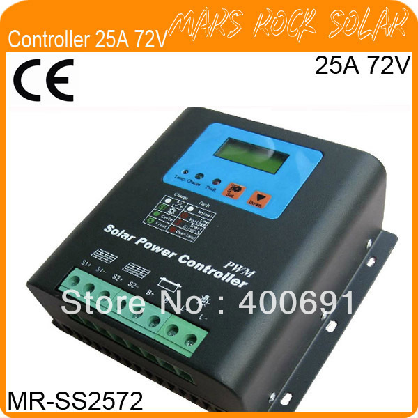 25A 72V PWM Solar Controller with Metal Shell, LCD Liquid Crystal Display,Temperature Compensate, High Speed, Good Performance