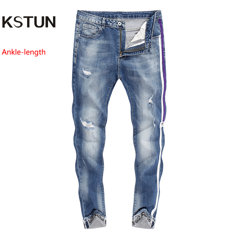 KSTUN Skinny Jeans Men Cropped Pants Ripped Stretch LIght Blue Side Striped Cuffs Casual Yong Boys Jeans Hiphop Distressed Jeans