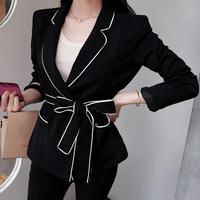 new bow ol coat long sleeved suit slim women blazer belt