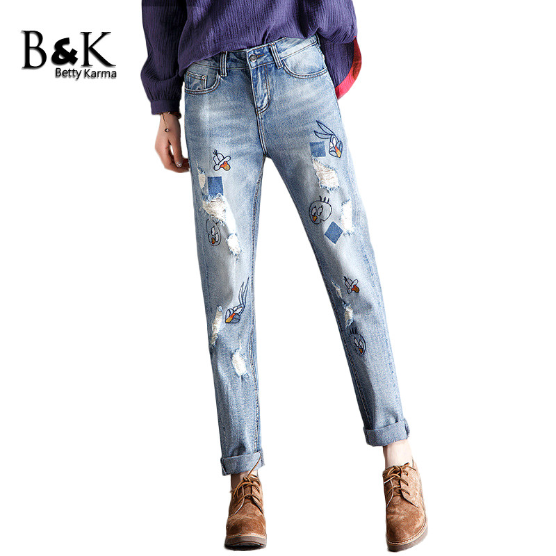 Embroidered Angry Birds Pattern Boyfriend Jeans for Women Casual Softener Denim Straight Trousers Jeans Female Plus Size Jeans