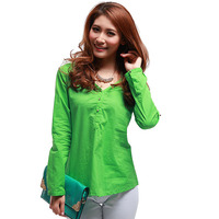 2014 Spring Long Sleeve Three Button Shirt 100 Cotton Solid Color Loose Plus Size Mm