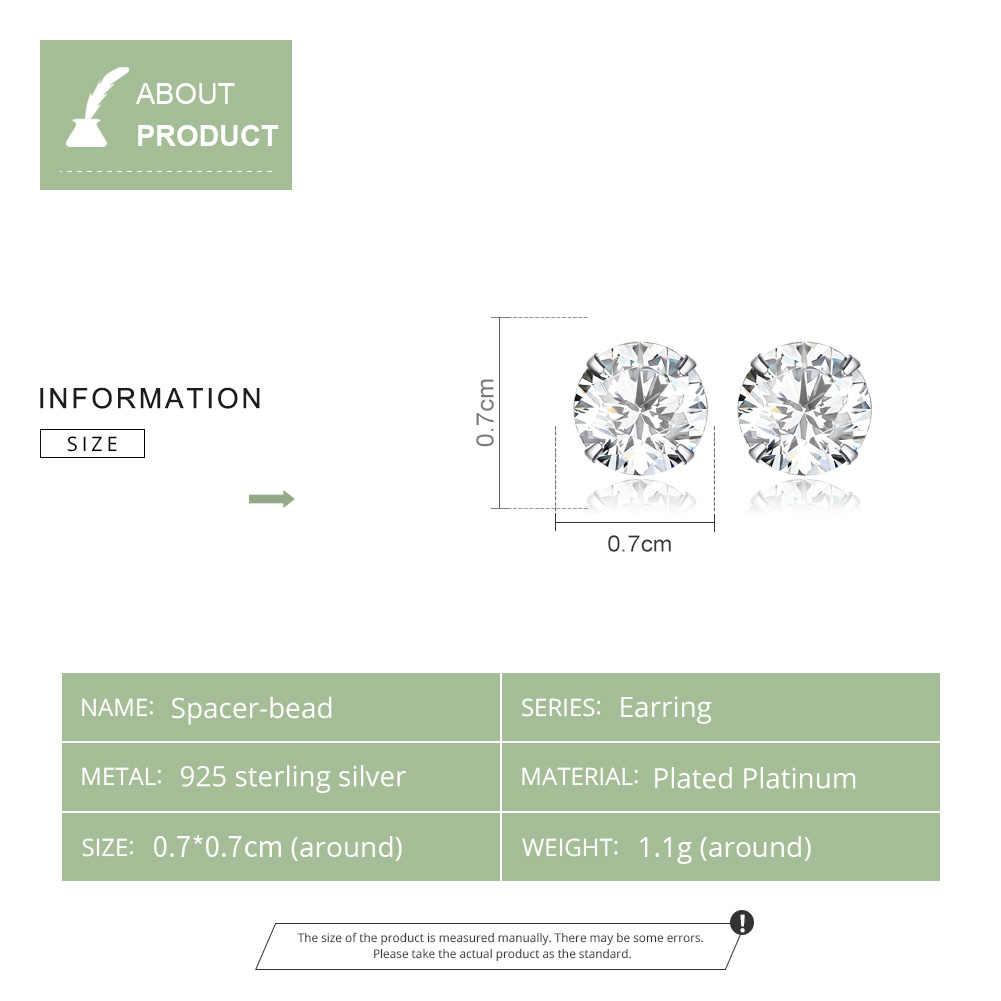 Bamoer HOT ขายพื้นฐานงานแต่งงานต่างหู Solid Silver 925 CLEAR Cubic Zirconia 7mm ผู้หญิงเครื่องประดับ BSE166