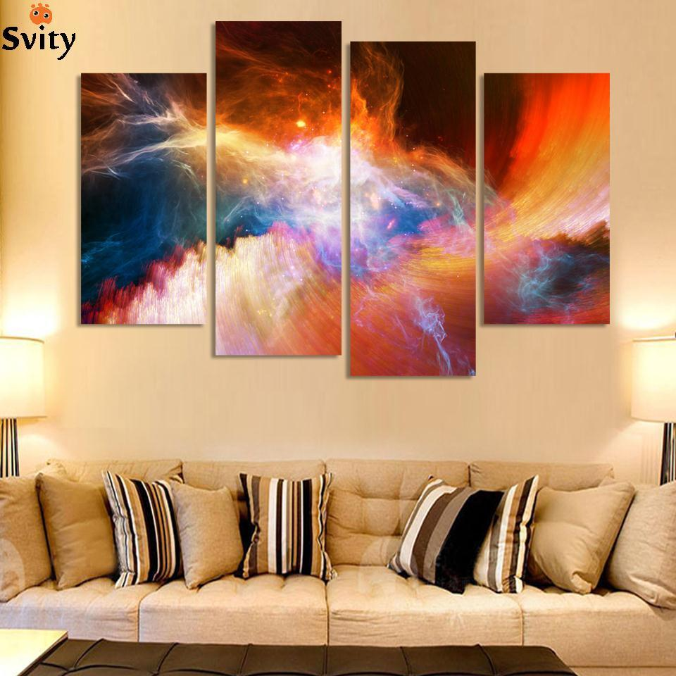 Free shipping 4 piece large canvas art cheap modern abstract Purple ...
