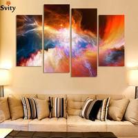 Gratis verzending 4 stuk grote doek goedkope moderne abstracte Paarse foto olieverf landschap muur decor
