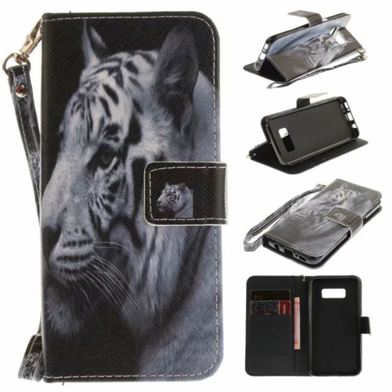 Flip Wallet Case For Samsung Galaxy S8 Cases Coque Animal Wolf Owl Tiger Lion Painted PU Leather Phone bags accessories Cover
