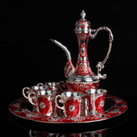Russian color tin wine set set, large size wine pot, wine glass tray, Red Castle