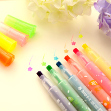 6 pcs Star stamp Marker Color Highlighter pen set Fluorescent drawing pens Stationery office acessories School supplies FB260 5 pcs free ink highlighter pen set fluorescent color power line marker stationery items office accessories school supplies a6054