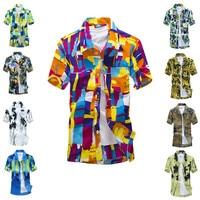TOP Size Big Luxury Men Aloha Shirt Cruise Tropical Luau Beach Hawaiianshirts Flower Shirt Men Hawaii