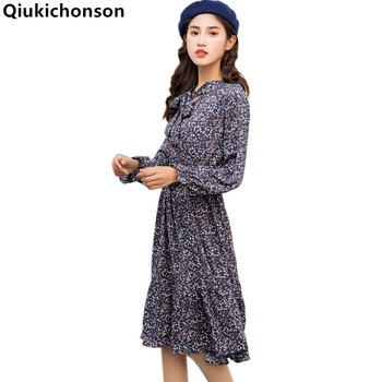Qiukichonson Women Summer Dresses Casual 2018 Spring Summer Vintage Bow Collar Floral Chiffon Dress Long Sleeve ladies dresses floral chiffon dress long sleeve