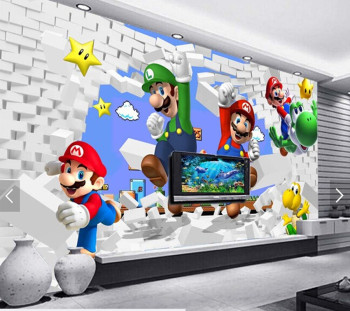 3D Super Mario Animation Wallpaper-Free Shipping 3D Wall Stickers For Kids Rooms