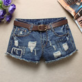2016 summer new women's low waist jeans flash light blue denim shorts female hole Sexy Punk Rivet Women Short Jeans Z2240