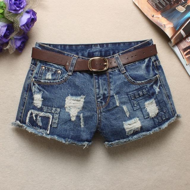 2016 summer new women's low waist jeans flash light blue denim shorts female hole Sexy Punk Rivet Women Short Jeans Z2240