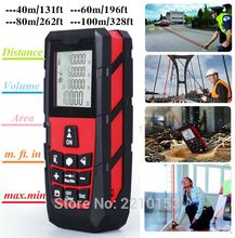 Red Laser Distance Meter Handheld Level Rangefinder Measure Area/Volume 120ft (40m)/ 185ft (60m)/ 245ft (80m)/ 320ft (100m)