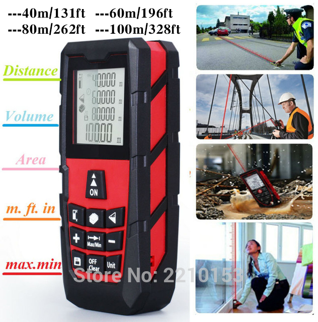 Rouge Laser Distance Mesureur Compteur Laser Télémètre Mesurer Une Surface/Volume 131ft (40 m)/196ft (60 m)/262ft (80 m)/328ft (100 m)