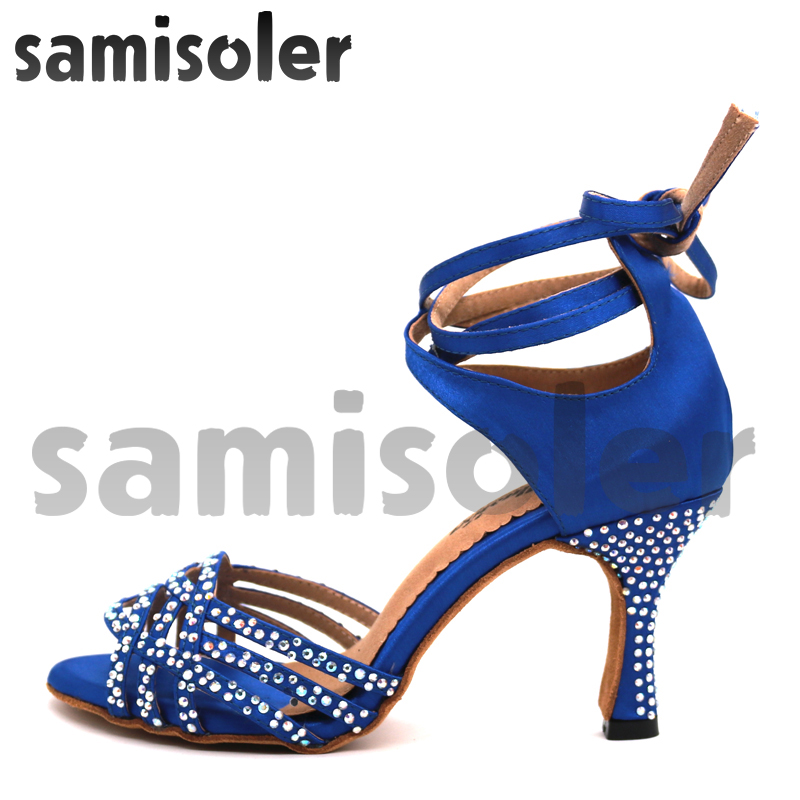 Samisoler Bule 2018 nouvelles chaussures de danse latine Salsa femme Satin fond doux mode danse sandales strass chaussures de salle de bal