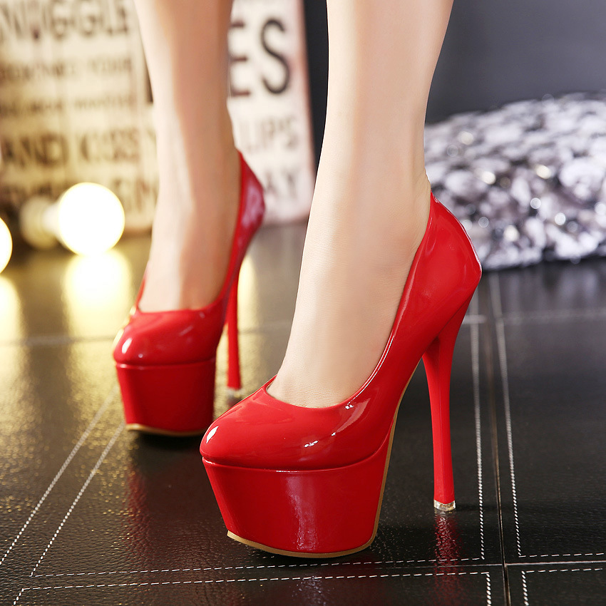 ФОТО Red Extreme High Heels 16cm Stilettos Platform Sexy Women Shoes Casual Nightclub Leather Party Pumps Fashion Free Shippng Hot