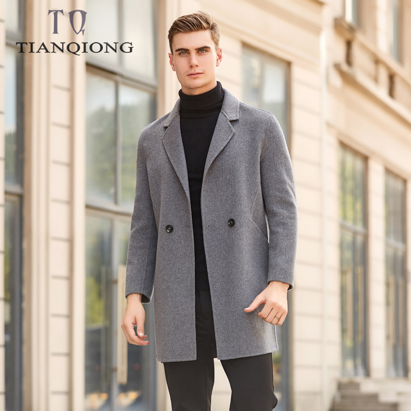 2019 Autumn New Business Casual Long Woolen Jacket Overcoat Cashmere 2 Breasted Black Gray Color Winter Long Coat Men 3XL