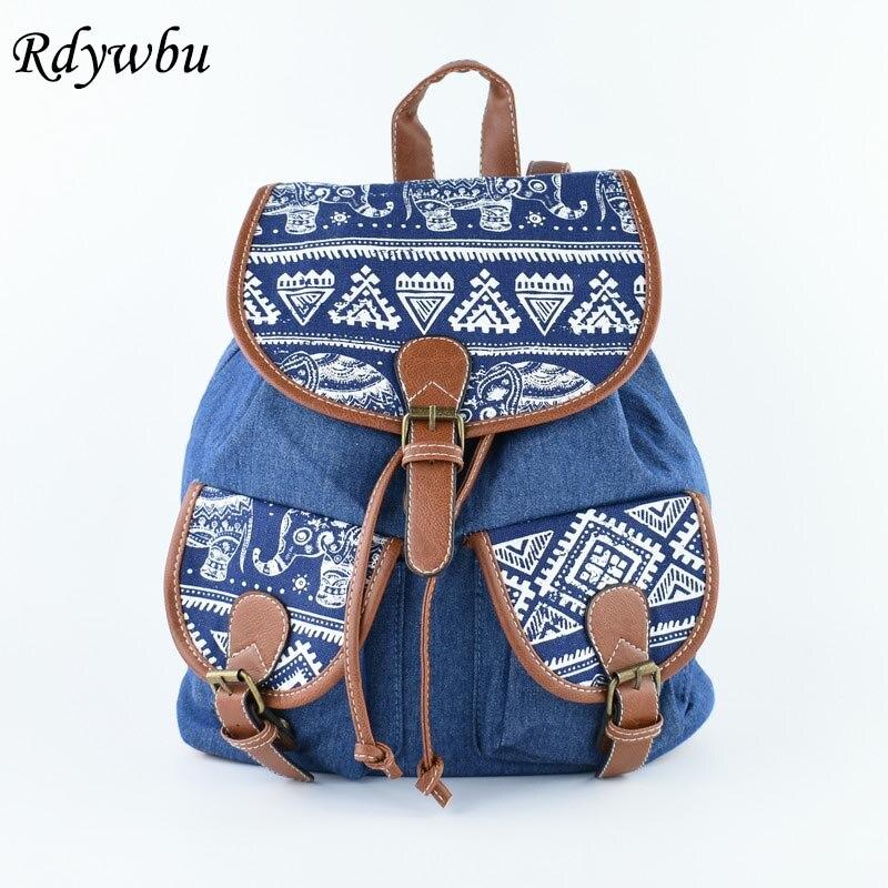 Rdywbu Fashion Cowboy Elephant Animal Printing Denim Backpacks Designer Drawstring Canvas Female School Bag Travel Rucksack H200
