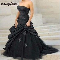 Vintage Black Wedding Dresses Long Sexy Strapless With Beaded Appliques Bridal Gown Wedding Dress Gothic Style vestido de noiva