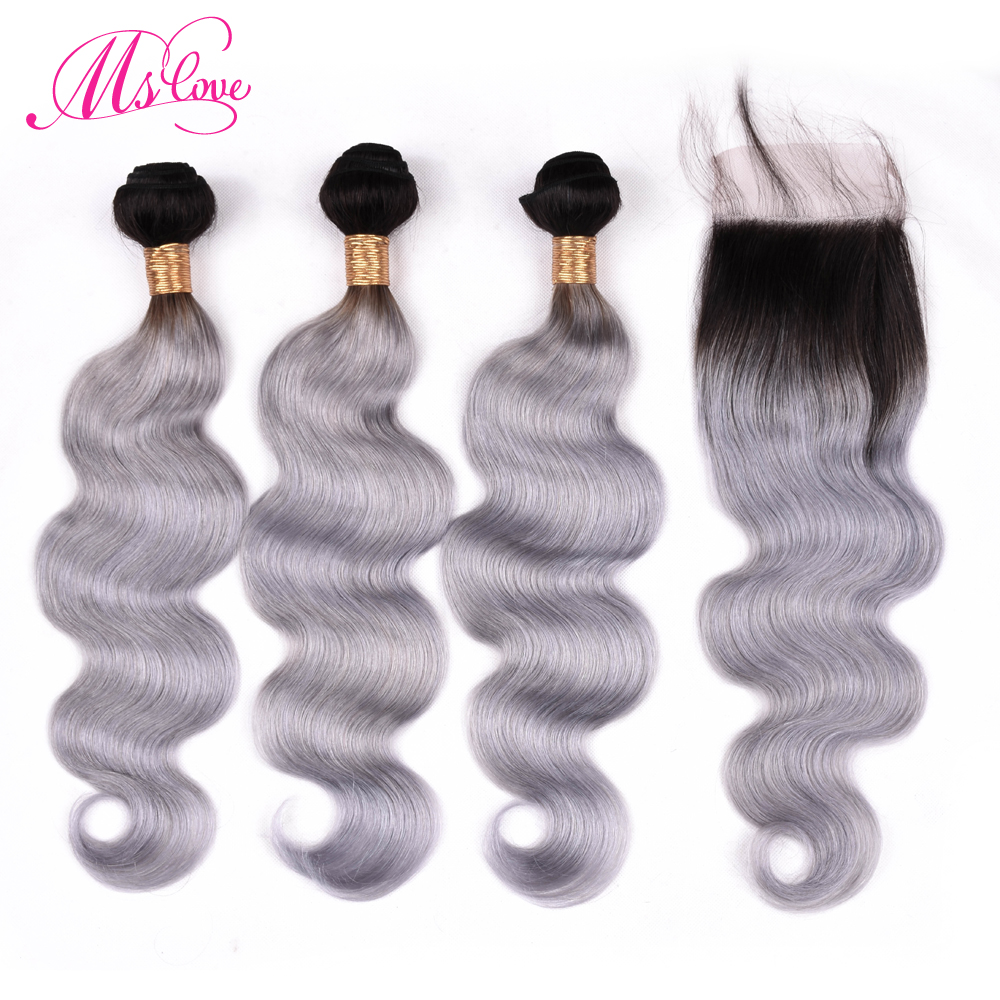 Ms Love Hair Ombre Grey Bundles With Closure Body Wave Pre Colored Peruvian Human Hair Bundles With Closure Remy Hair Bundles