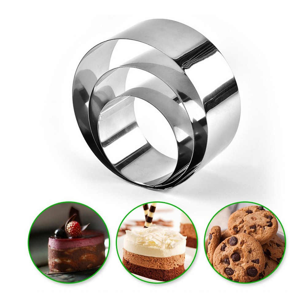3PCS Mousse Ring 6/8/10CM Round Cake Molds Stainless Steel Baking Moulds Kitchen Dessert Cake  Mousse Ring Baking Tool
