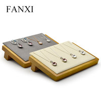 FANXI Solid Wood Pendant Necklace Display Stand Jewelry Holder Tray with Microfiber for Necklace Expositor Jewelry Organizer