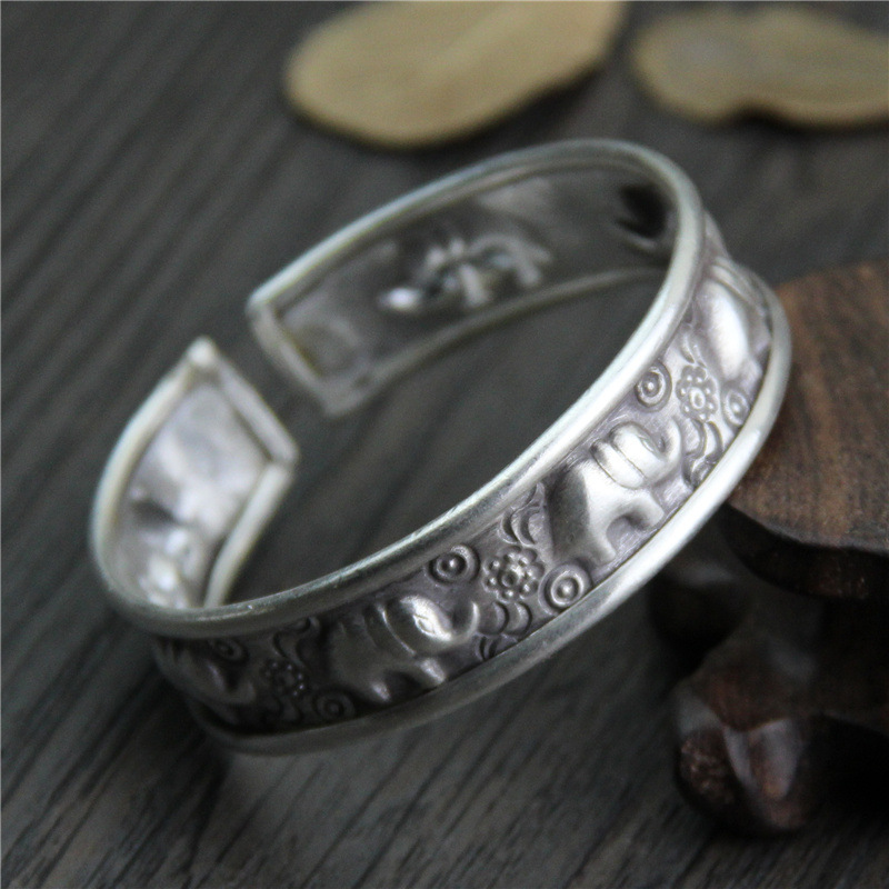 C&R Real 999 Sterling Silver bangle bracelet for Women's Vintage bangles stamp Elephant Thai Silver bracelets Fine Jewelry v ya vintage thai silver men bracelets bangles 925 sterling silver mens bracelet bangle cuff fine jewelry