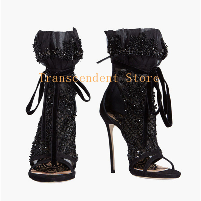 Crystal Beads Sexy Black Women Zipper Ankle Boots Open Toe High Heel Lace Up Party Women Shoes Summer Mesh Cut-outs Sandals plus size 34 46 fashion sexy summer sandals ankle buckle high heel shoes dress women cut outs pointed toe thick heel party pumps