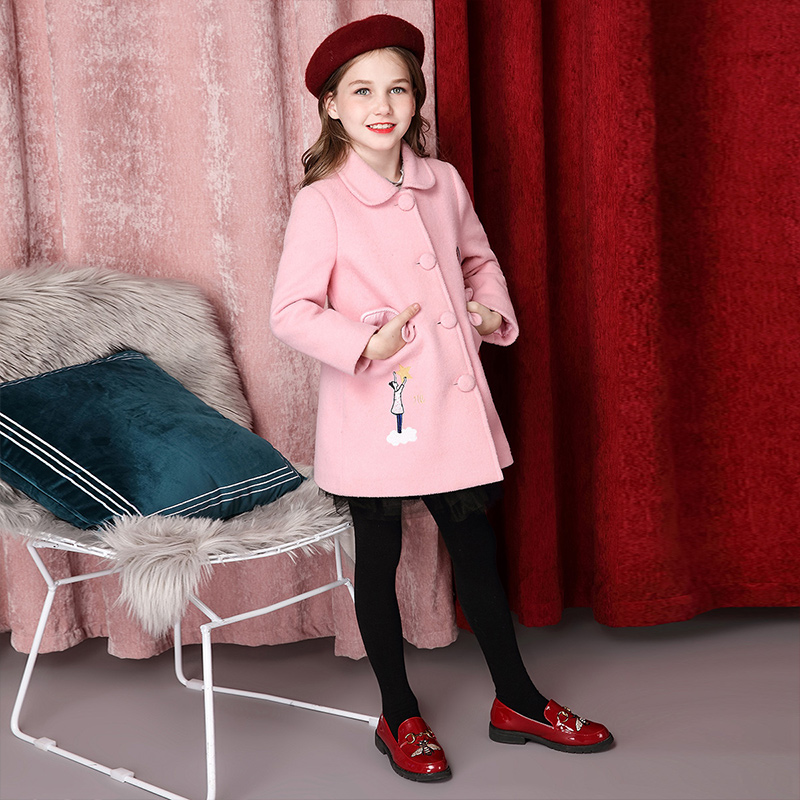 Girls wool coat foreign style 2018 autumn dress long children's red wool woolen cloth coat peak lapel pocket wool blend pea coat