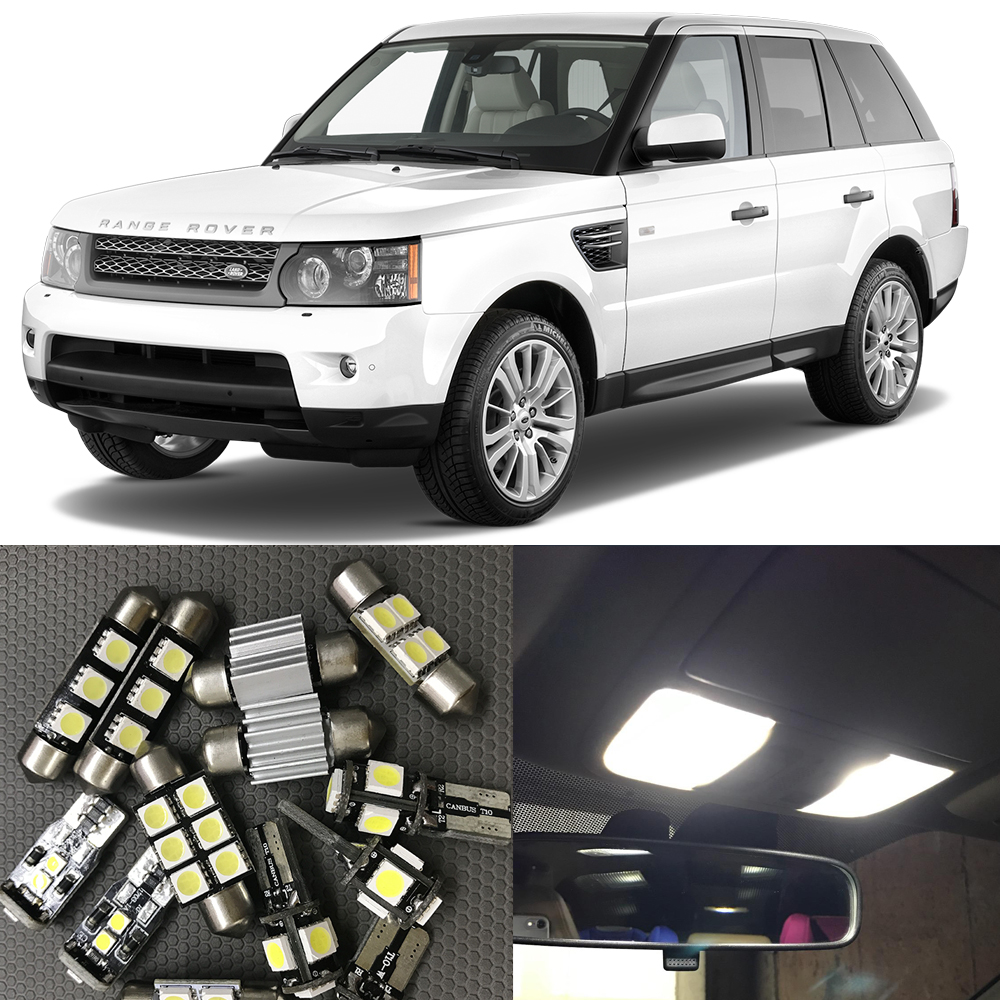 16pcs New Car LED Interior Kit Canbus No error Map Dome License Plate Light Lamp for 2006-2012 Land Rover Range Rover Sport smaart v 7 new license