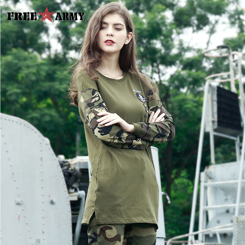 FreeArmy Ladies Hoody Lengthy Hoodie Shirt O-Neck Camouflage Sleeve Ladies's Sweatshirt Cotton Primary Informal Tops Woman's Clothes 2018 Blouses & Shirts, Low-cost Blouses & Shirts, FreeArmy Ladies Hoody Lengthy...