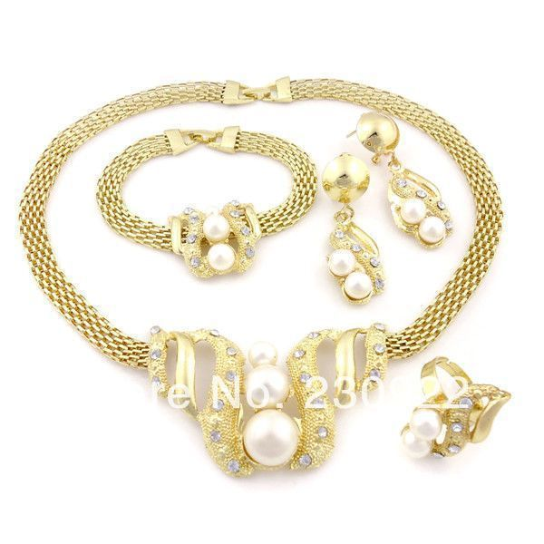 Hesiod Indian Wedding Jewelry Sets Gold Color Full Crystal: 2014 Indian Wedding Jewelry Sets Pakistani Bridal Dubai