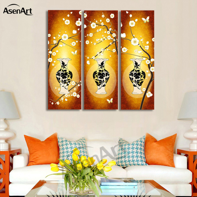 3 Panel Canvas Art White Flower Vase Painting For Living Room Home Decoration Wall