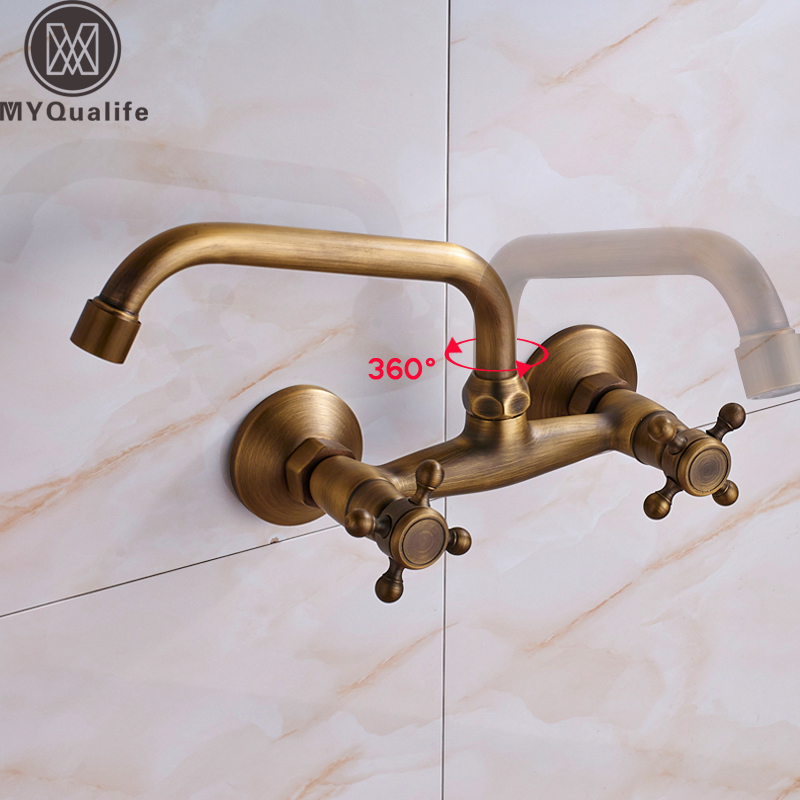 Wall Mounted Bathroom Kitchen Faucet Dual Handle Brass Antique Hot and Cold Water Tap 360 Swivel Long Spout Kitchen Mixer Tap single handle bathroom faucet basin carving tap swivel sink water tap antique brass hot and cold kitchen mixer faucet with hose