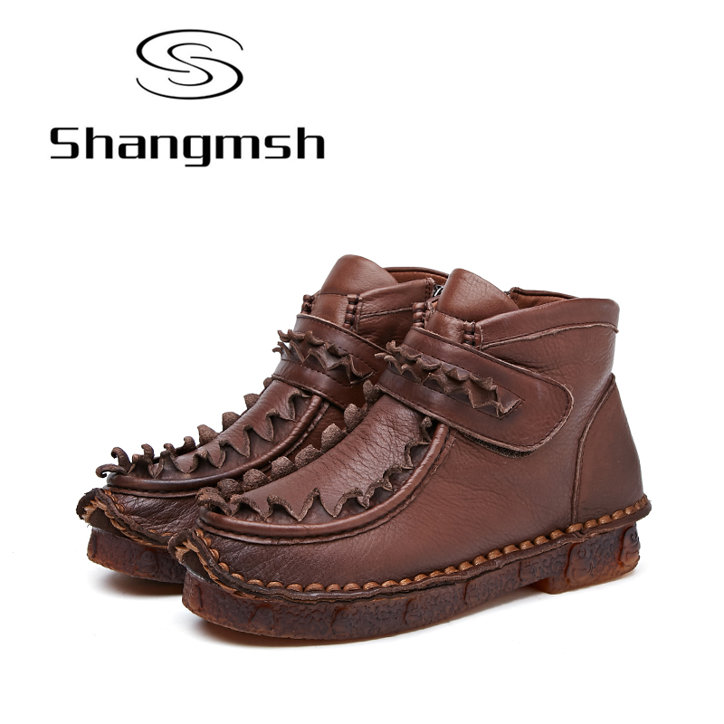 Shangmsh Genuine Leather Women Boots Winter Women's Boots Ankle Boots Warm Soft Botines Mujer Casual Flat Shoe Handmade S shangmsh brand women s winter boots 2017 retro handmade genuine leather ankle boots soft casual ladies autumn shoes